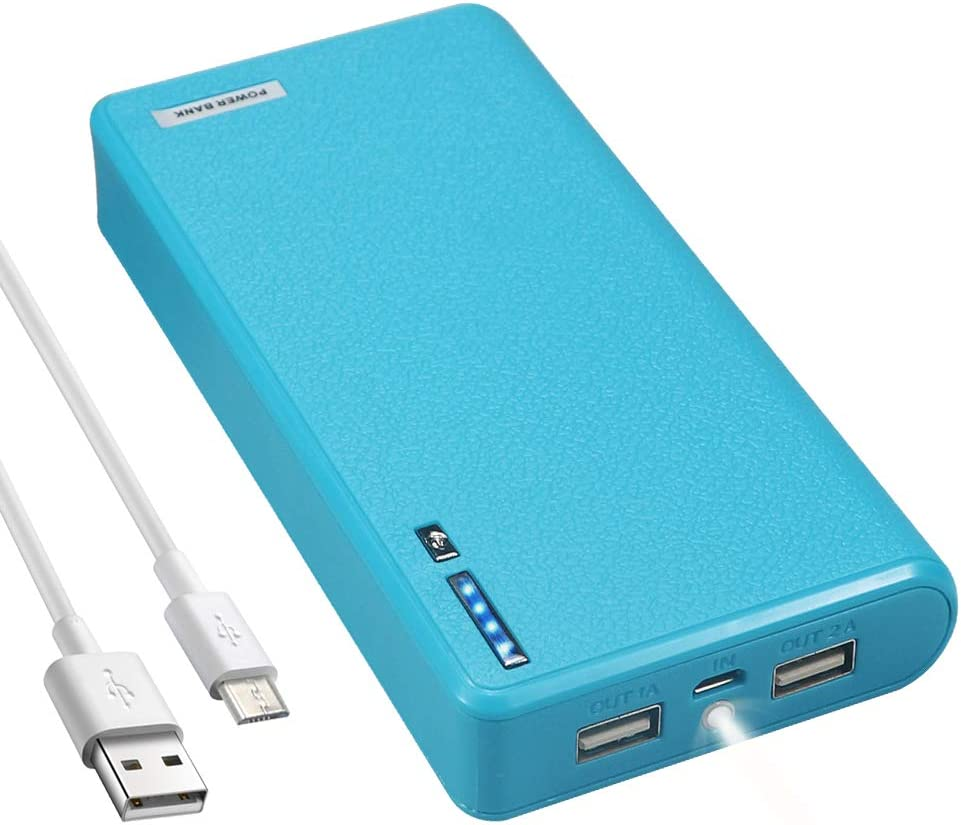 LQM 20000mAh Dual USB External Battery Backup Power Bank for Apple iPhone 6, 6 Plus 5S 5C 5 4S 4,iPad Air Mini 2, HTC One, One 2 (M8), Samsung Galaxy S6 Edge, S6 S5 S4 S3, Tab 4 3 2 Pro (Bule)