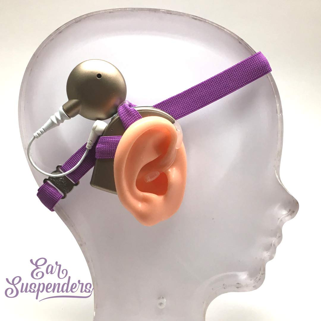 Ear Suspenders Headband for Cochlear Implant Retention Dark Purple