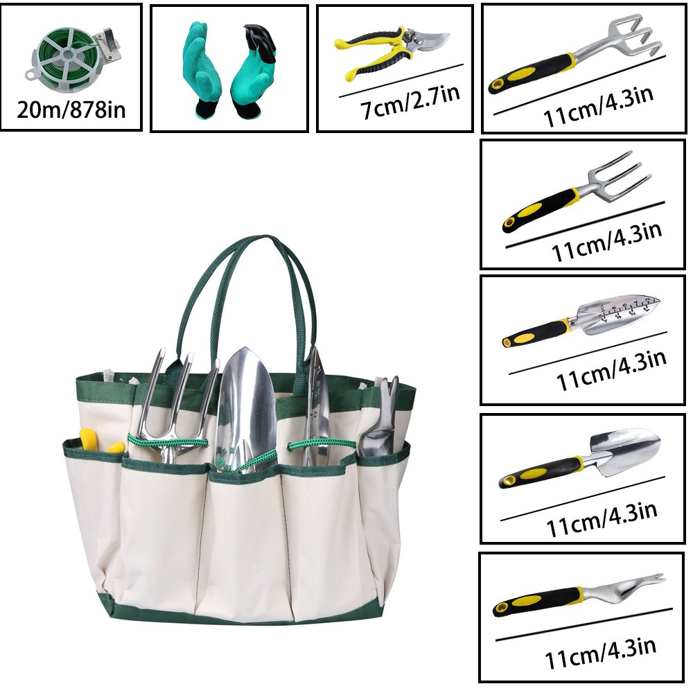 HmiL-U Garden Tool Sets 9 piece Gardening tool with Plant Tie- Garden Tote and Garden Gloves and more Christmas gifts for your parents. by HmiL-U (Image #2)