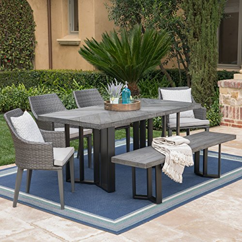 Christopher Knight Home Athena Outdoor 6 Piece Grey Wicker Dining Set with Textured Grey Oak Finish Light Weight Concrete Dining Table and Bench and Light Grey Water Resistant Cushions ()