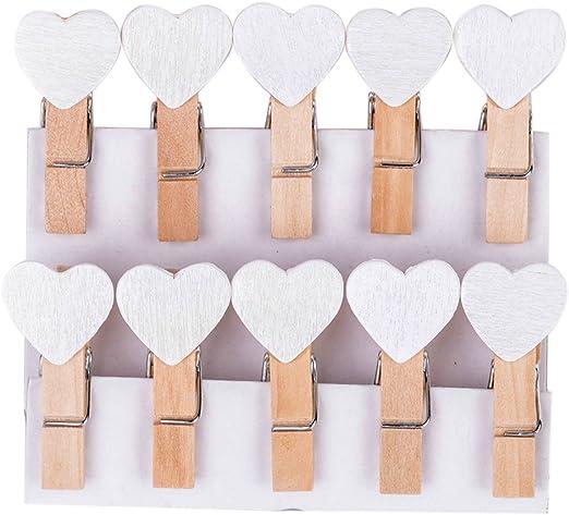 50//100 un Mini Corazones De madera Clavijas Foto Clips Boda Fiesta Decoración de artesanía bastante