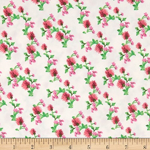 Fabric Merchants Double Brushed Poly Jersey Knit Mini Floral Pink/Ivory Fabric by The Yard,