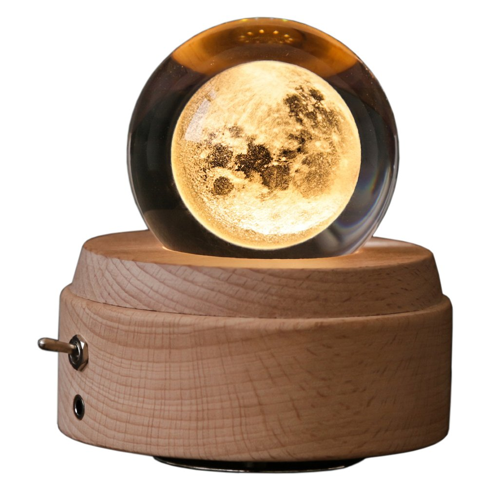 Wooden Music Box Night Light Luminous Rotating 3D Crystal Ball Musical Box with Projection Light and Wood Base Great Gift for Christmas Birthday Valentine's Day Home Decor (1# Cystal Moon)