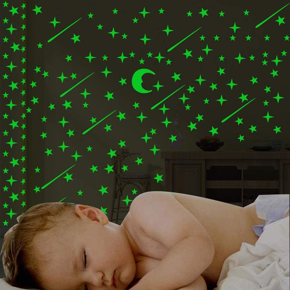Baby Wall Dcor 3 Pieces/Set Luminous Stickers Star Moon Meteor ...