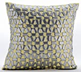 "Handmade Yellow Pillow Shams, 3D Metallic Sequins Lattice Trellis Pillow Sham, 24""x24"" Pillow Sham, Square Cotton Linen Shams, Modern Pillow Shams - Yellow Twist"