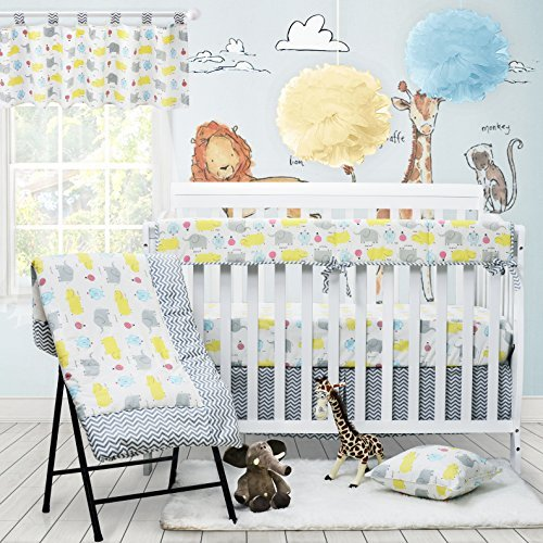 blue Baby Doll Bedding Gingham with Elephant Applique Cradle Bedding Set
