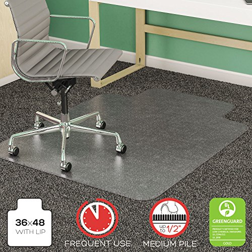 deflect-oamp;reg; - SuperMat Studded Beveled Mat for Medium Pile Carpet, 36w x 48h, Clear - Sold As 1 Each - Studded.