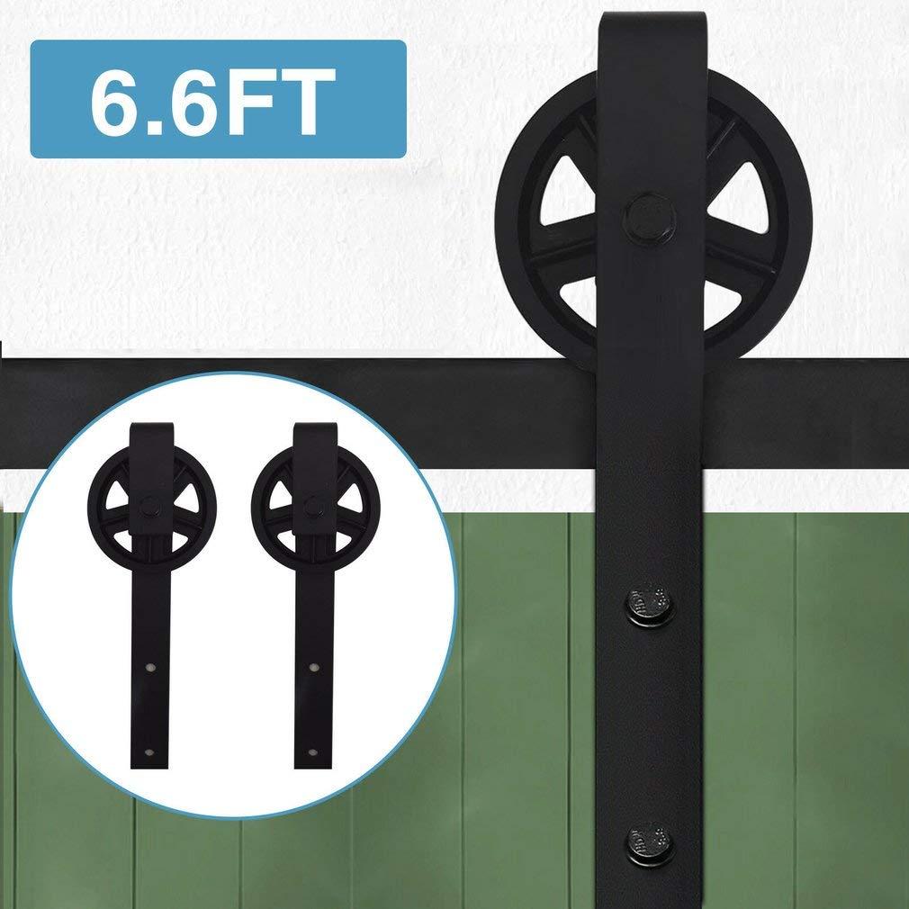 en Acier Carbone 12ft // 366cm, pour 2 portes Tumdem 6FT // 6,6FT // 8FT // 12FT Quincailleri Kit de Rail pour Porte Coulissante Nior Ensemble Industriel pour Porte Suspendue en Bois Forme de Roue