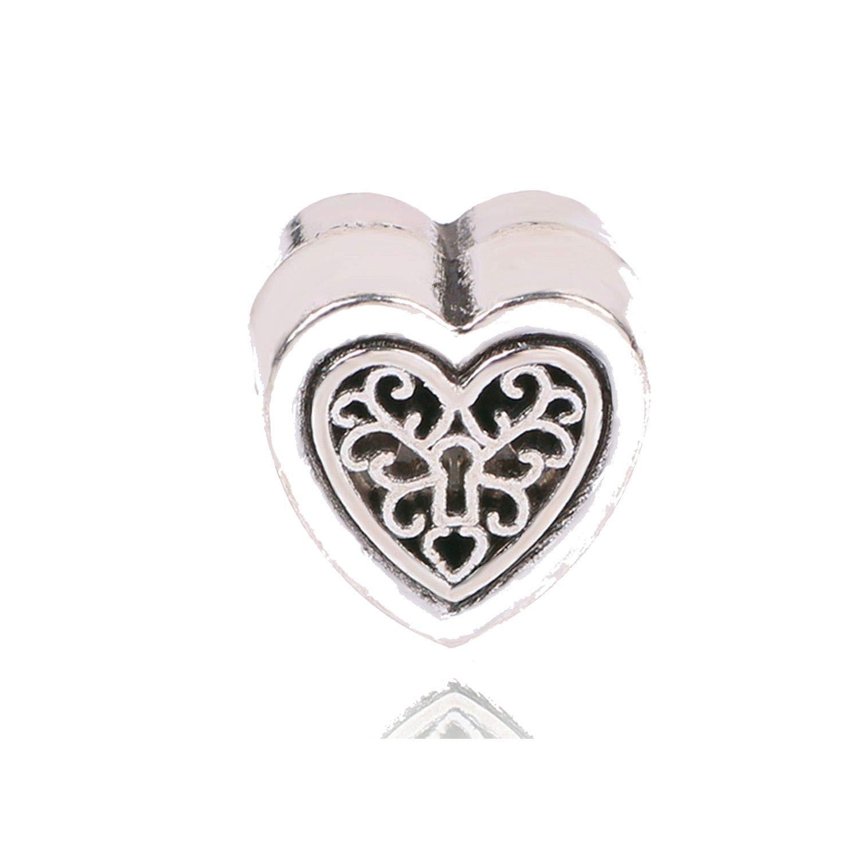 Silver Charms Hollow Beads with Enamel Heart Shape Dangle Pendant DIY Silver Jewelry Fit Bracelet Women Gift,C-012,10mm
