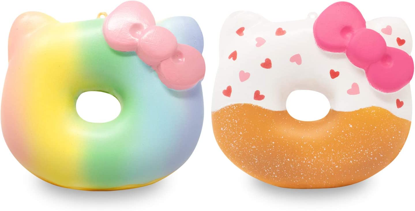 Sanrio Officially Licensed Hello Kitty Slow Rising Squishy Toy [Big Donut Series] (Valentine White & Rainbow, 2 Piece Set) [Birthday Gift Bags, Party Favors, Gift Basket Fillers, Stress Relief Toys]