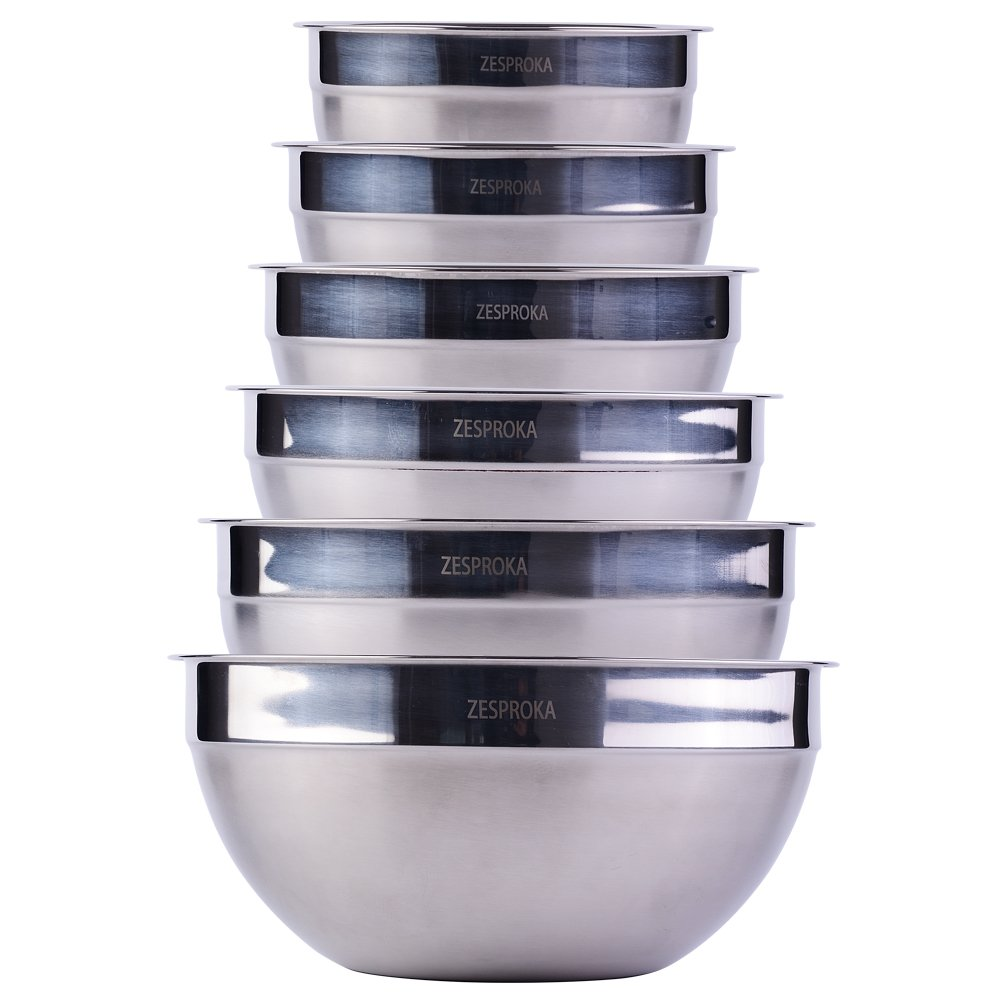 ZESPROKA Stainless Steel Mixing Bowls, Nesting Bowls, Matte and Mirror Finish, Set of 6 by ZESPROKA