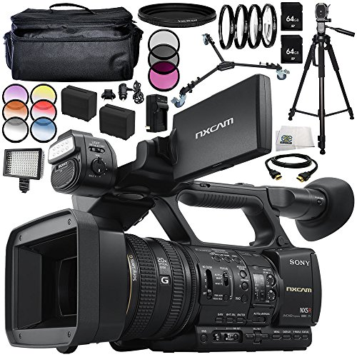Sony HXR-NX5R NXCAM Professional Camcorder 16PC Accessory Bundle - Includes Includes 2X 64GB SD Memory Cards + 2 Replacement Batteries + More -  SSE