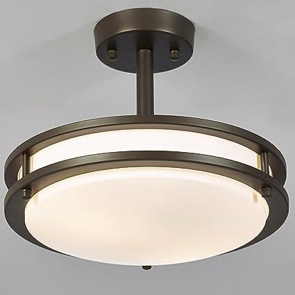 2b7e4f5a37b SOTTAE 13W (60W equivalent) 2 Lights Bronze Finish Tempered Acrylic Flush  Mount Ceiling Light