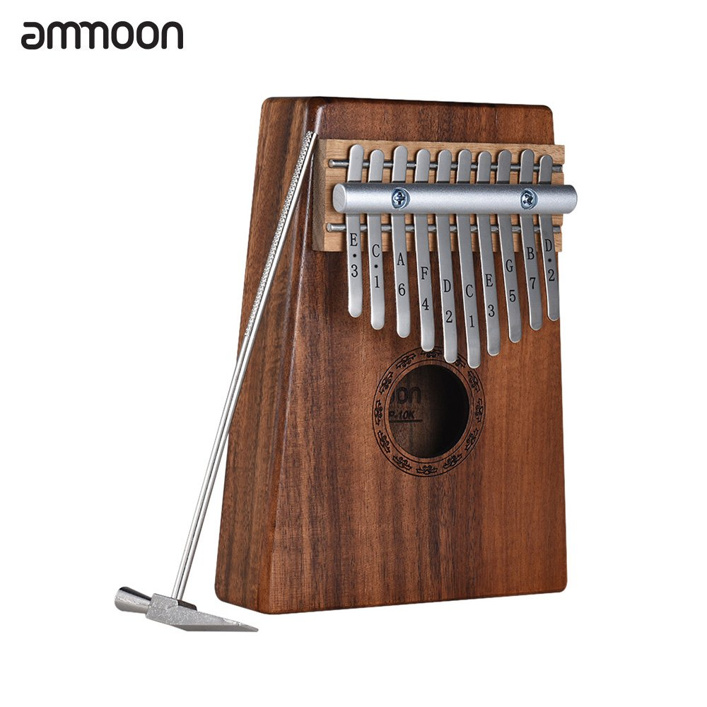 Kalimba 10 keys, ammoon Finger Piano Sanza Solid Wood Thumb Piano with Carry Bag Music Book Musical Scale Stickers Tuning Hammer(AKP-10K)
