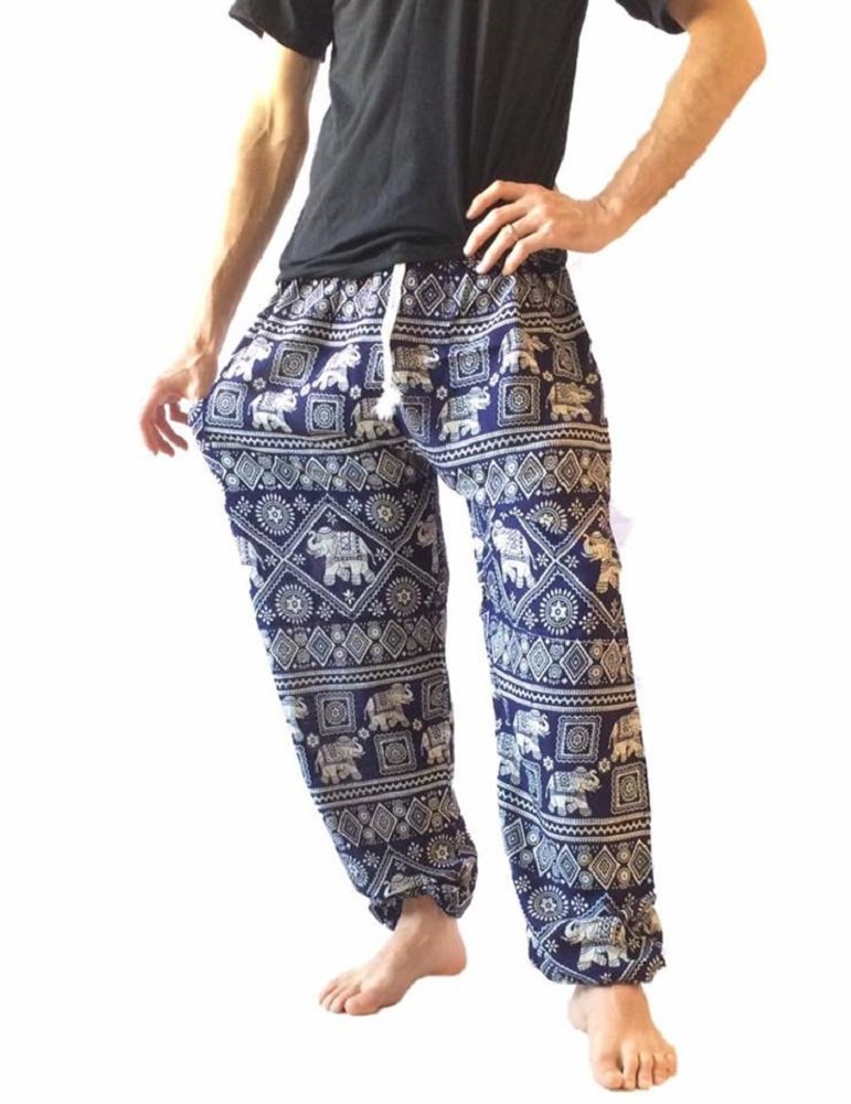 Love Quality Men's Baggy Printed Harem Pants (Blue)