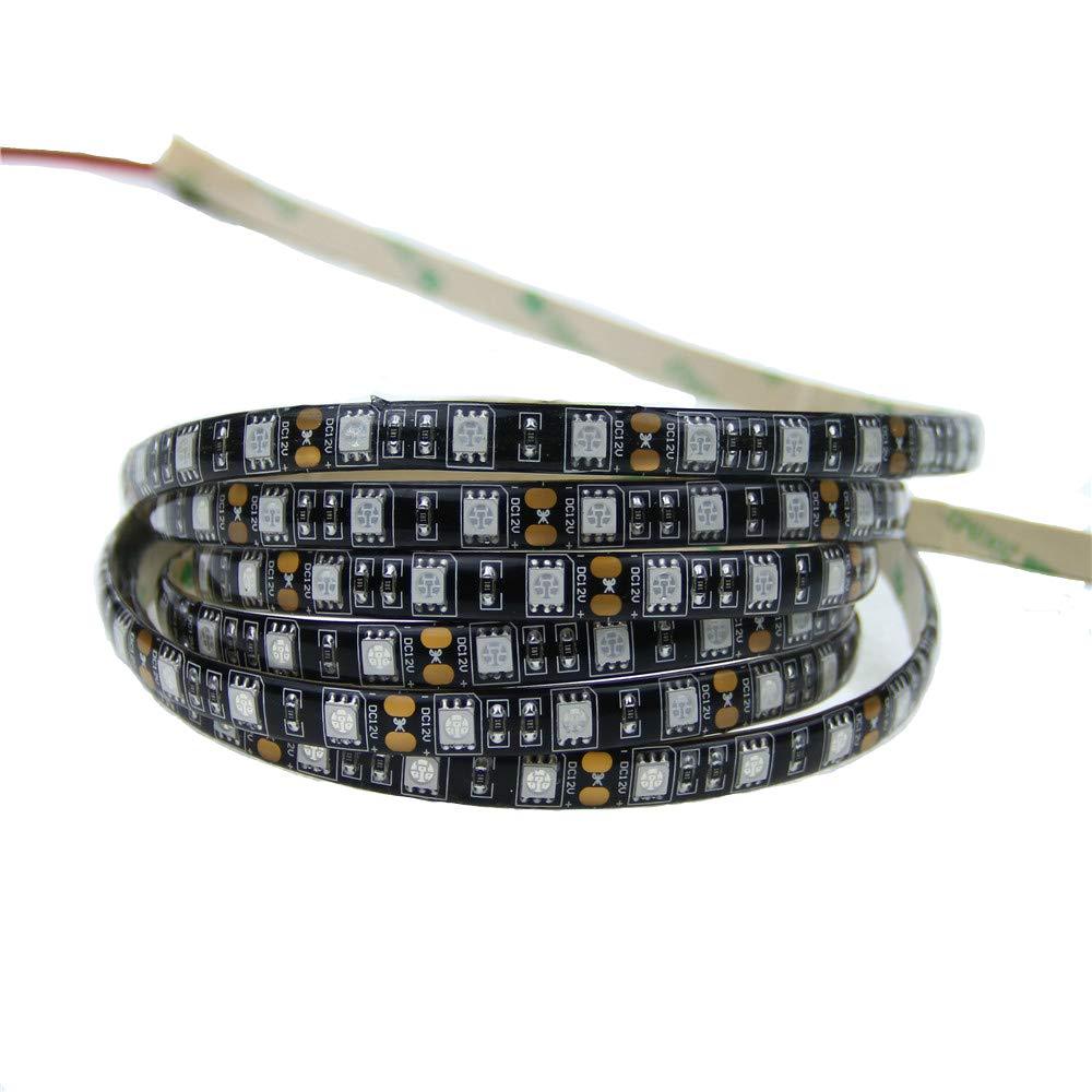 Alarmpore(TM) 16.4ft 5M UV 395nm 5050 SMD Purple 300Leds LED Flexible Strip rope Light lamp 12V DC (Black PCB Waterproof)