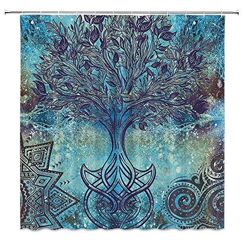 WZFashion Tree of Life Shower Curtain Grunge Style Tree Pattern with Ethnic Mandala and Spiral Shapes Blurry Artwork, Fabric Bathroom Decor Set with Hooks, Turquoise Brown (Spiral Shower Curtain)