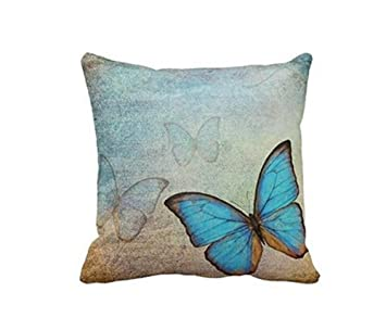 Violetpos Kissenhulle Deko Vintage Blaue Schmetterlinge Sofa