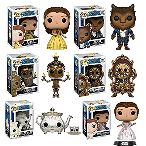 Funko Pop: Beauty & the Beast Complete Bundle Set of 6 Including Belle, Beast, Lumiere, Cogsworth, Mrs. Potts & Chip, and Belle (New Funko Pop Supernatural)