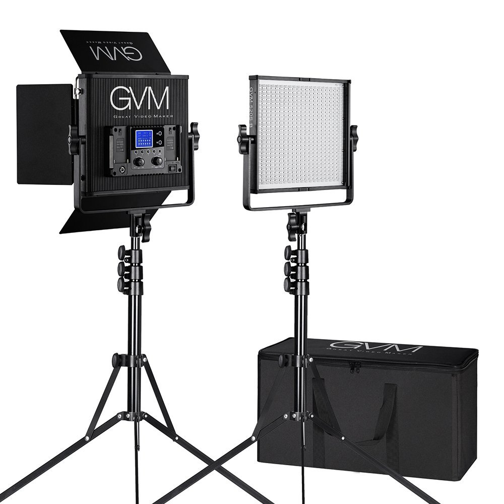 GVM 520S-B2L LED Video Lighting Kit CRI97 3200-5600K with Digital Display for Video Making Photography Interview Studio Lighting and Location Shooting(2 Video Light + 2 Light Stand)