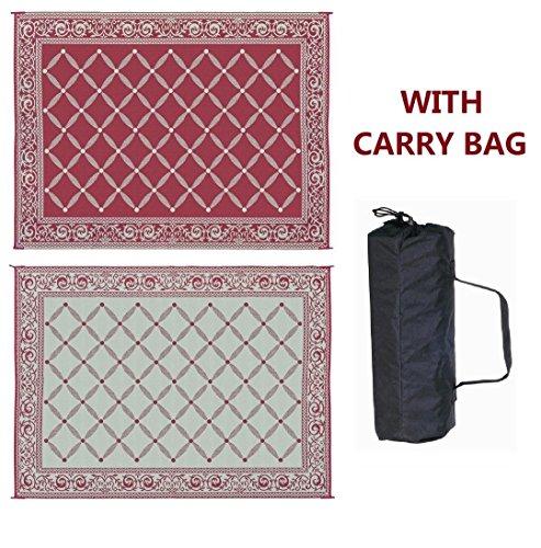 Outdoor Indoor Patio Mat Rug RV 6'x9' Reversible Picnic Camping Carpet Deck Pad