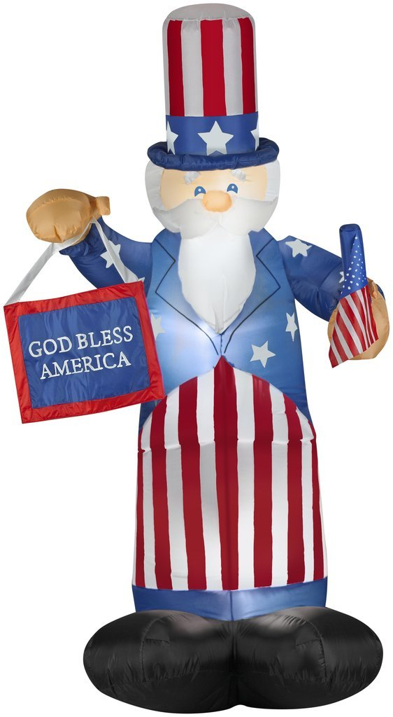 Patriotic Inflatable 6' Uncle Sam With American Flag By Gemmy