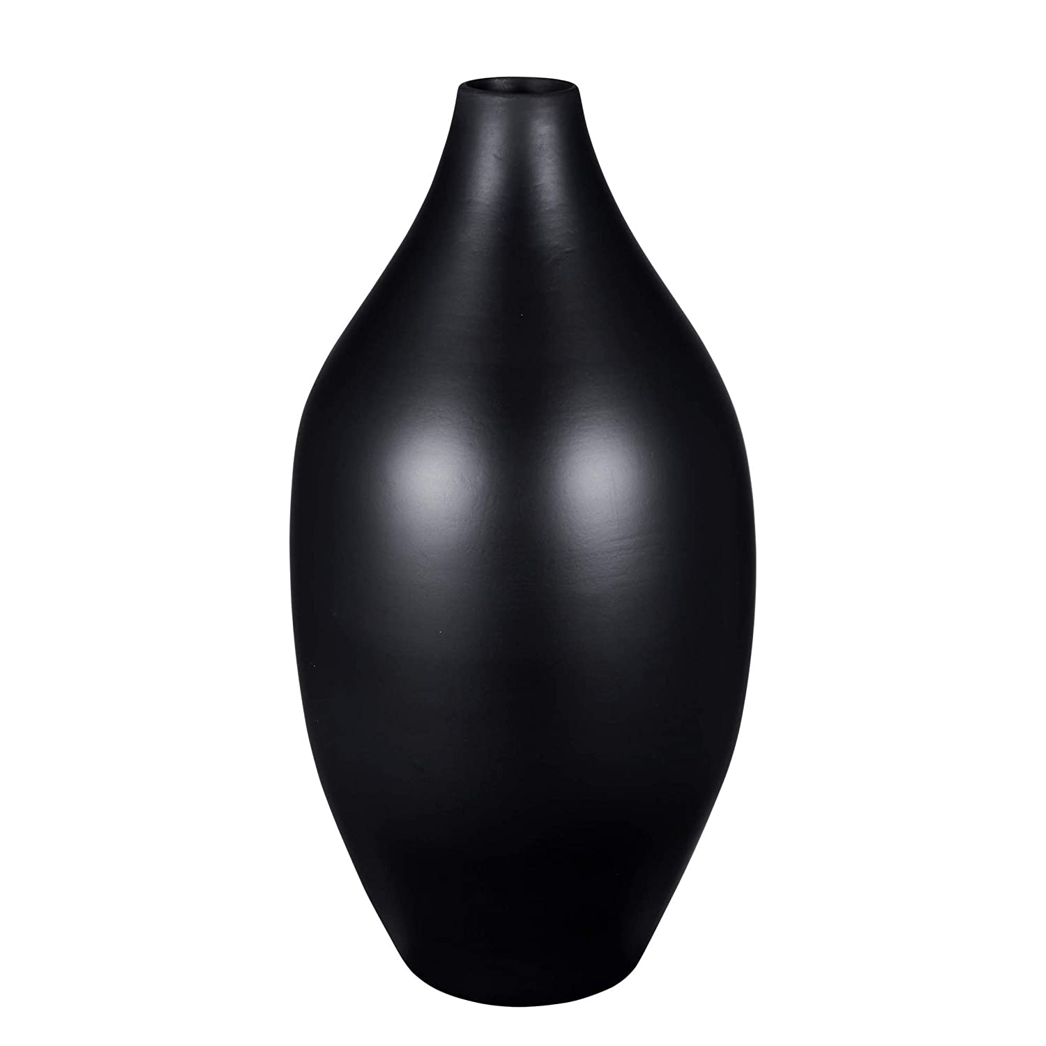 "Filler Decor Sustainable Bamboo Villacera Handcrafted 16/"" Tall Black Glazed Gourd Vase for Silk Plants Flowers"