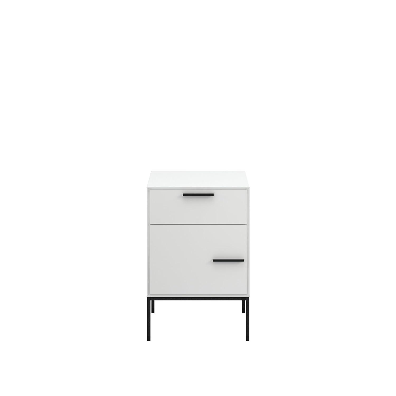 Steens Nachttisch Slimline, Nachtkonsole, Nachtkommode mit 1 Tür und 1 Schublade, (B H T) 47 x 71 x 40 cm, MDF, Weiß