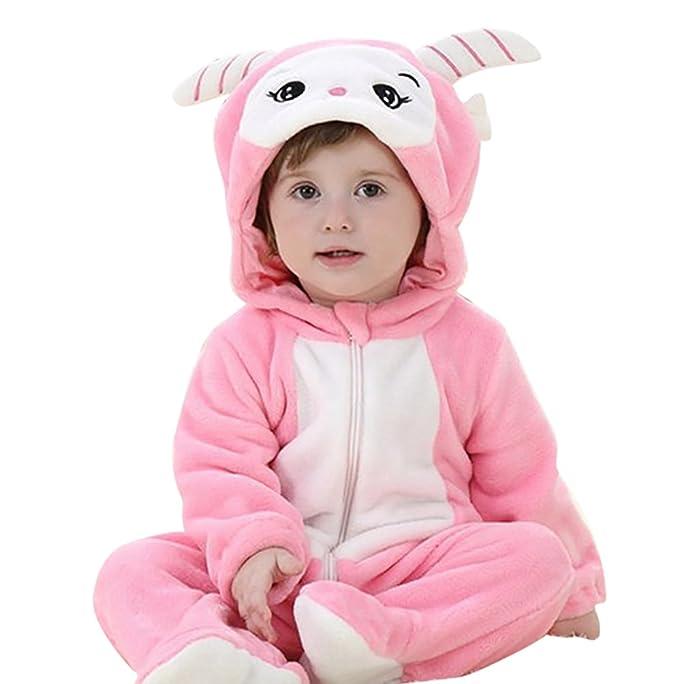 MissFox Bebé Kigurumi Pijamas Pelele Mono para Niño Niña Infantil, Invierno Ropa de Noche con