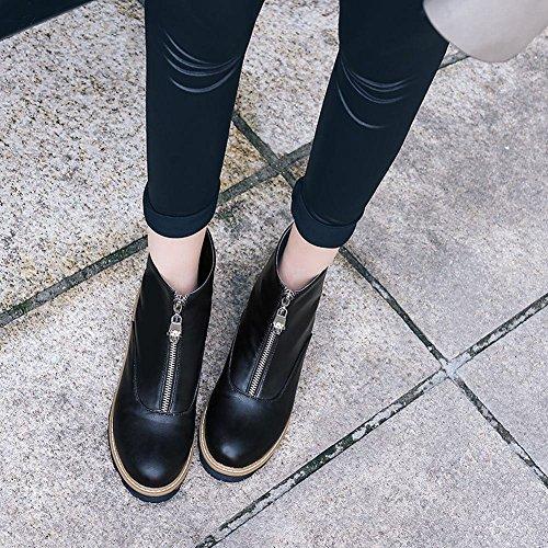 ... YE Damen Flache Ankle Boots Stiefeletten mit Reißverschluss Bequem  Modern Schuhe Schwarz f22da6b423