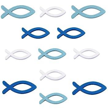 Lakind 54 Stück Holzfische Deko Streudeko Fische Taufe Deko Junge Holz Fisch Konfirmation Kommunion Dekoration Streuartikel Tischdeko Blau