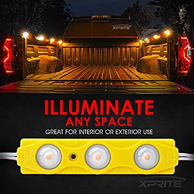 Xprite Led Rock Light for Bed Truck, 24 LEDs Cargo Truck Pickup Bed, Under Car, Foot Wells, Rail Lights, Side Marker LED Rock Lighting Kit w/Switch Yellow - 8 PCs: Automotive