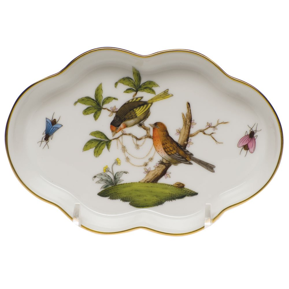 Herend China Rothschild Bird Scalloped Tray by Herend