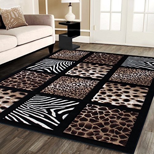 Modern Area Rug Animal Prints 8 Ft. X 10 Ft. 6 In. Design # S 251 Black by Sculpture