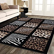 Modern Area Rug Animal Prints 3 Ft 10 in X 5 Ft 2 in Design # S 251 Black