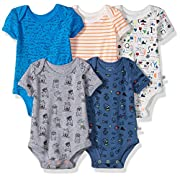 Rosie Pope Baby Boys 5 Pack Bodysuits (More Colors Available), Sunglasses/Nerd Theme, 6-9 Months