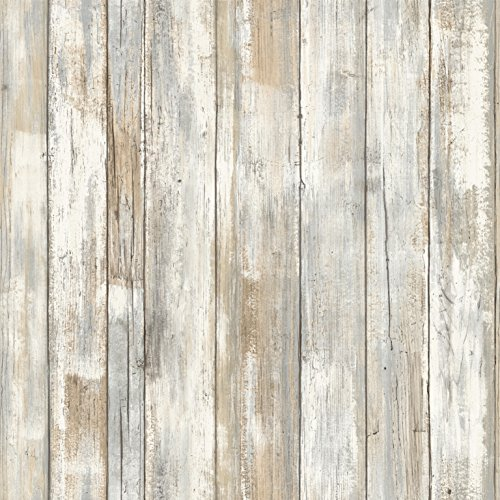 - RoomMates Distressed Wood Peel and Stick Wallpaper
