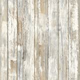 RoomMates RMK9050WP Distressed Wood Peel and Stick Wall Decor