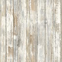 RoomMates RMK9050WP 28.18 Square Feet Distressed Wood Peel and Stick Wallpaper Décor