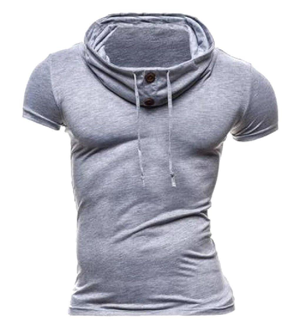VITryst-Men Drawstring Activewear Short-Sleeve Pure Color Polo Top