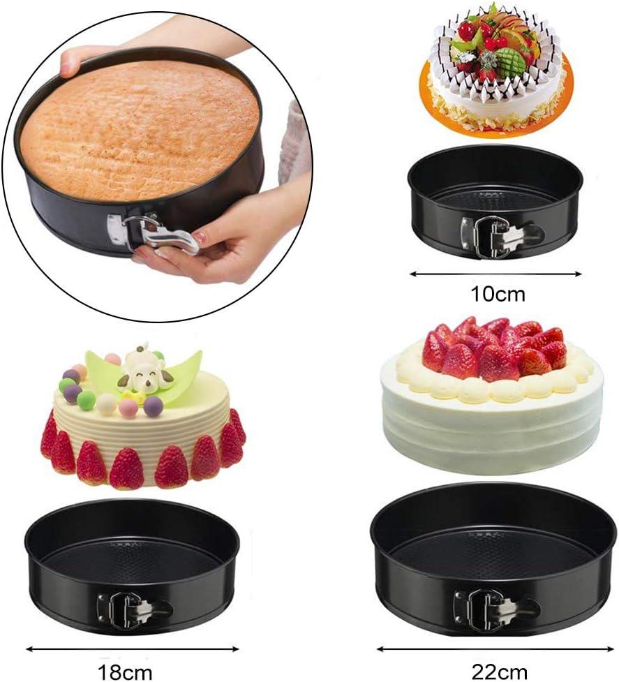 Backformen Springform Cake Pans Runde Backform mit Flachboden Kuchenformen Auslaufsicher 3 Gr/ö/ßen Enth/ält Annvchi Kuchenform Rund Set Antihaftbeschichtet