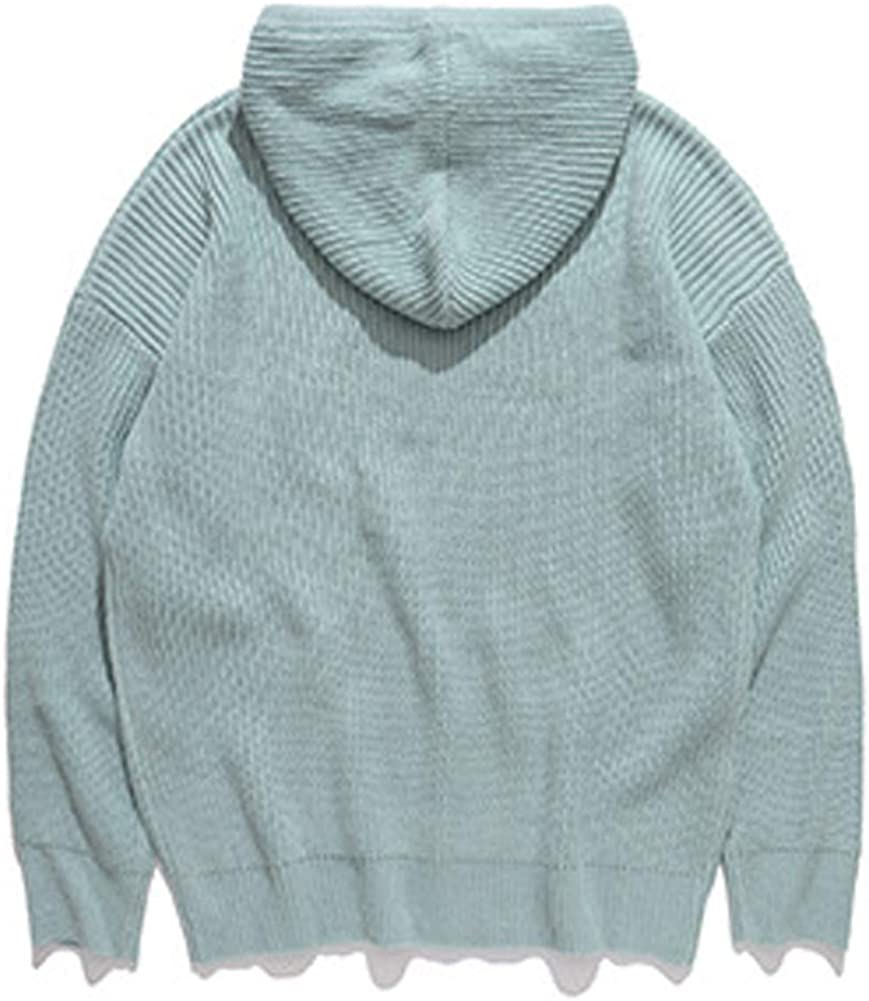 VFIVE UNFOUR Sweaters Men Hip Hop Casual Pullover Sweater Hoodies Male Fashion Loose Hooded Streetwear Sweatshirts Light Green