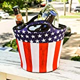 BREKX Insulated American Flag Neoprene Beverage Ice Bucket Party Chiller - 5 QT. Patriotic Home Decor