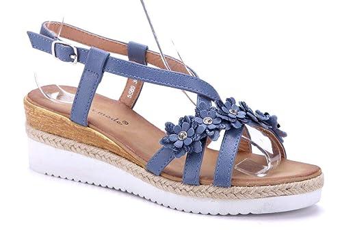 67f72bbae5d9c8 Schuhtempel24 Damen Schuhe Keilsandaletten Sandalen Sandaletten Keilabsatz  Ziersteine/Blumenapplikation 5 cm: Amazon.de: Schuhe & Handtaschen