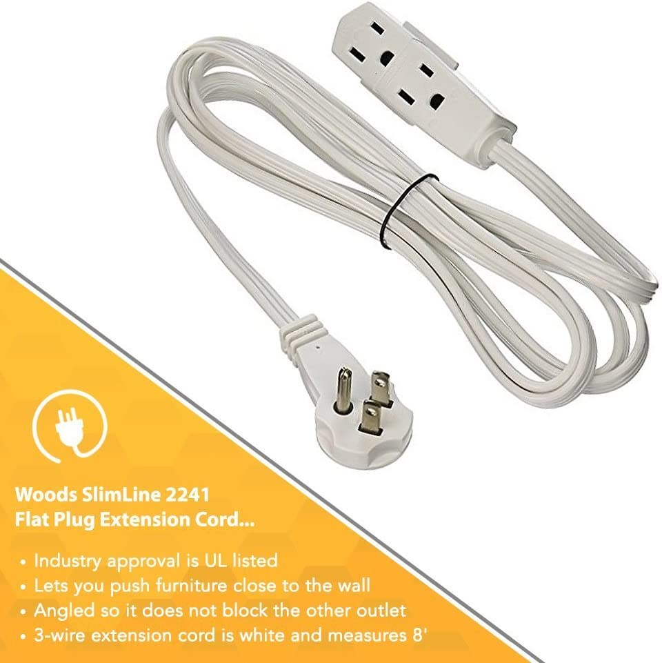 3-Wire White SlimLine 2241 Flat Plug Extension Cord 6-PACK 8-Foot