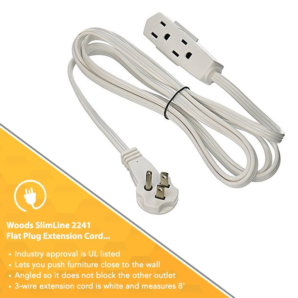 6-PACK - SlimLine 2241 Flat Plug Extension Cord, 3-Wire, White, 8 ...