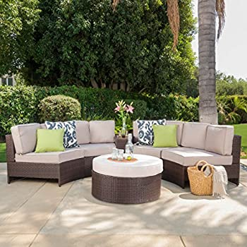 Swell Riviera Portofino Outdoor Patio Furniture Wicker 6 Piece Semicircular Sectional Sofa Seating Set W Waterproof Cushions Standard Ottoman Beige Beutiful Home Inspiration Ommitmahrainfo