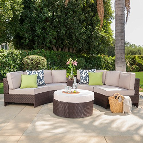 Riviera Portofino Outdoor Patio Furniture Wicker 6 Piece Semicircular Sectional Sofa Seating Set w/Waterproof Cushions (Standard Ottoman, Beige) ()