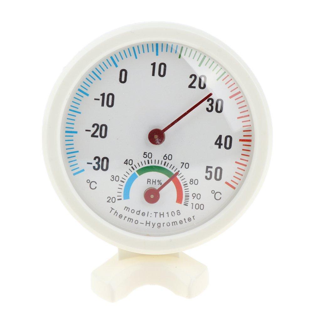 MagiDeal Round Mini Indoor Analog Temperature Humidity Meter Thermometer Hygrometer