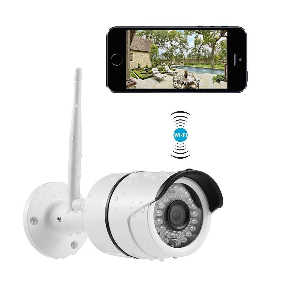 INKERSCOOP Caméra IP 720P Caméra IP Extérieur HD Caméra de Sécurité Sans Fil WiFi , IR-Cut Night Vision, Alerte de détection de Mouvement, Surveillance vidéo, Système de Surveillance Étanche IP66 à Domicile P2P Network
